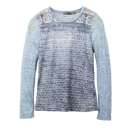 Womens prAna Lottie Long Sleeve Non-Technical Tops - Grey XS