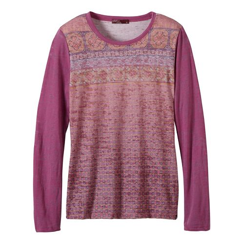 Womens prAna Lottie Long Sleeve Non-Technical Tops - Purple S
