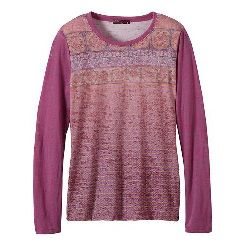 Womens prAna Lottie Long Sleeve Non-Technical Tops - Purple XL