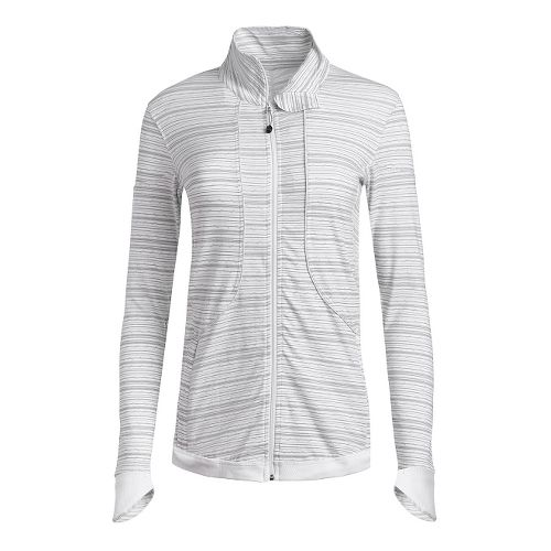 Womens Tasc Performance Unstoppable Full Zip Casual Jackets - White/Grey Stripe S