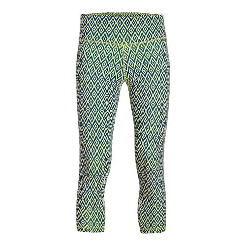 Womens Tasc Performance NOLA Crop - Print Capris Tights - Limeade/Deep Blue M