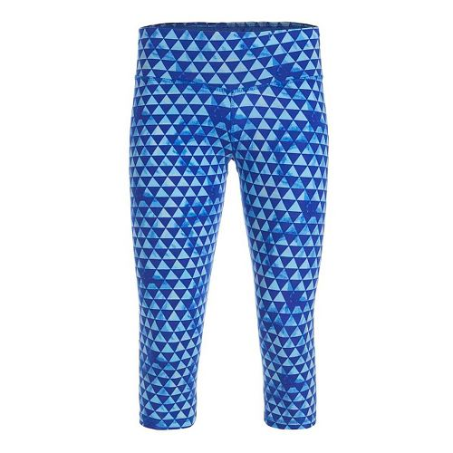 Womens Tasc Performance NOLA Crop - Print Capris Tights - Tribal/Dory Blue S