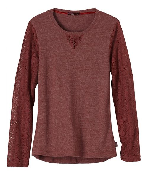 Womens prAna Darla Long Sleeve Non-Technical Tops - Brown S