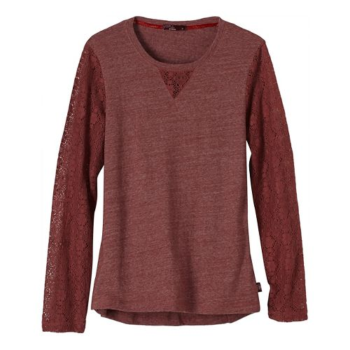 Womens prAna Darla Long Sleeve Non-Technical Tops - Brown L