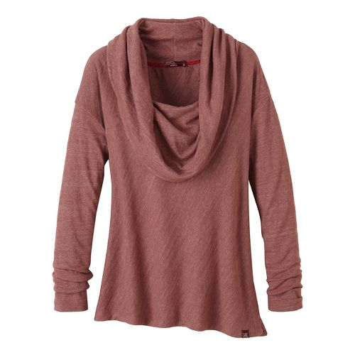 Womens prAna Ginger Long Sleeve Non-Technical Tops - Brown XS