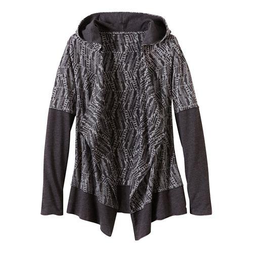 Womens Prana Graceful Wrap Long Sleeve Non-Technical Tops - Black XL