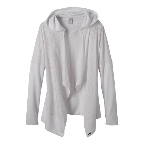 Womens Prana Graceful Wrap Long Sleeve Non-Technical Tops - White M