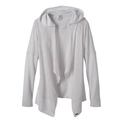 Womens Prana Graceful Wrap Long Sleeve Non-Technical Tops - White XS