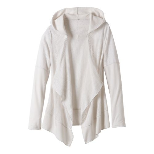 Womens Prana Graceful Wrap Long Sleeve Non-Technical Tops - White M