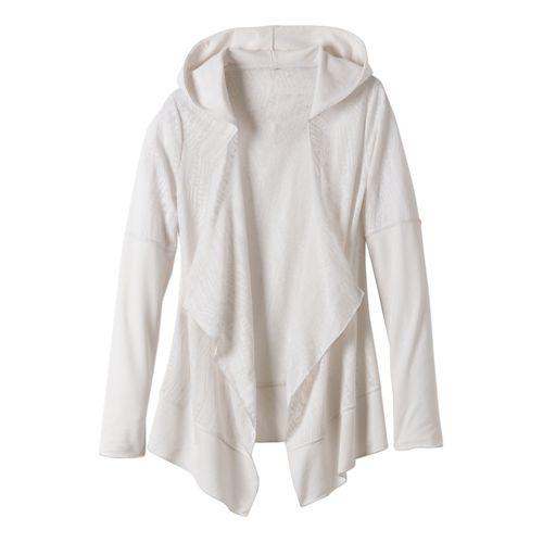 Womens Prana Graceful Wrap Long Sleeve Non-Technical Tops - White S