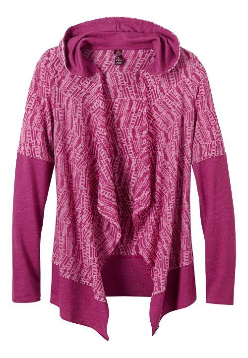 Womens Prana Graceful Wrap Long Sleeve Non-Technical Tops - Rich Fuchsia M