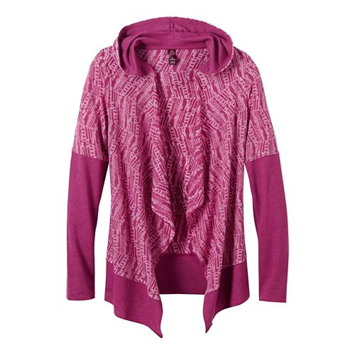 Womens Prana Graceful Wrap Long Sleeve Non-Technical Tops - Rich Fuchsia L