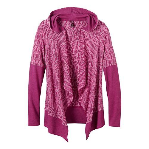 Womens Prana Graceful Wrap Long Sleeve Non-Technical Tops - Rich Fuchsia XS
