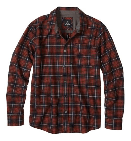 Mens prAna Woodman Long Sleeve Non-Technical Tops - Brown S