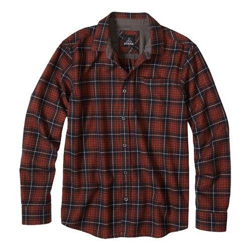 Mens prAna Woodman Long Sleeve Non-Technical Tops - Brown XL