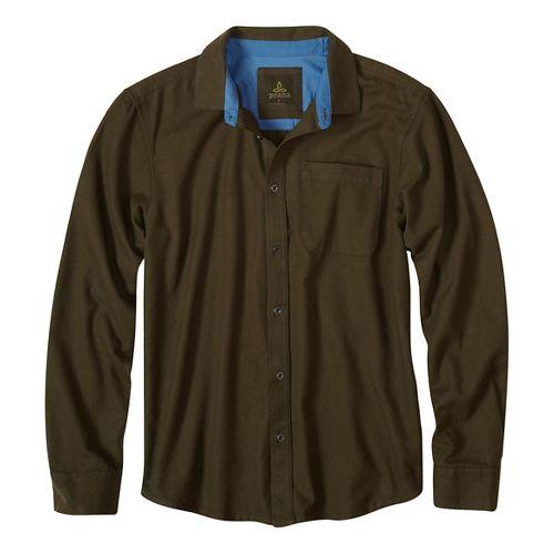Mens prAna Woodman Long Sleeve Non-Technical Tops - Beige XL