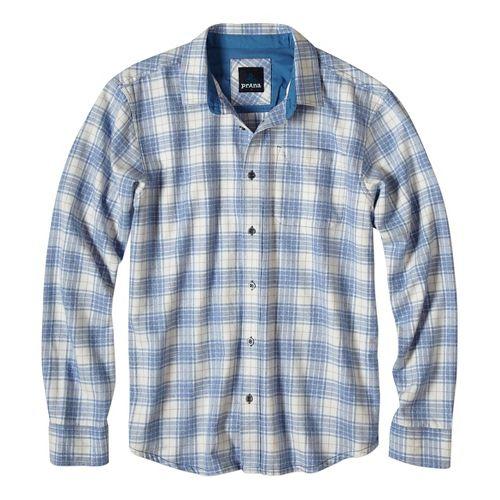 Mens prAna Woodman Long Sleeve Non-Technical Tops - Blue S