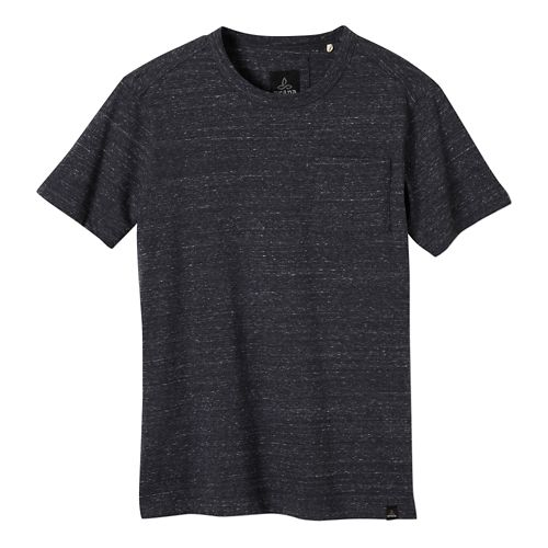 Mens prAna Burbia Pocket Crew Short Sleeve Non-Technical Tops - Coal XL
