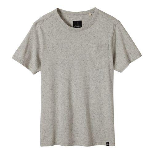 Mens prAna Burbia Pocket Crew Short Sleeve Non-Technical Tops - Stone XL