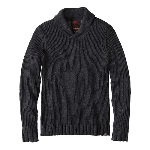 Mens prAna Onyx Sweater Long Sleeve Non-Technical Tops - Charcoal XXL