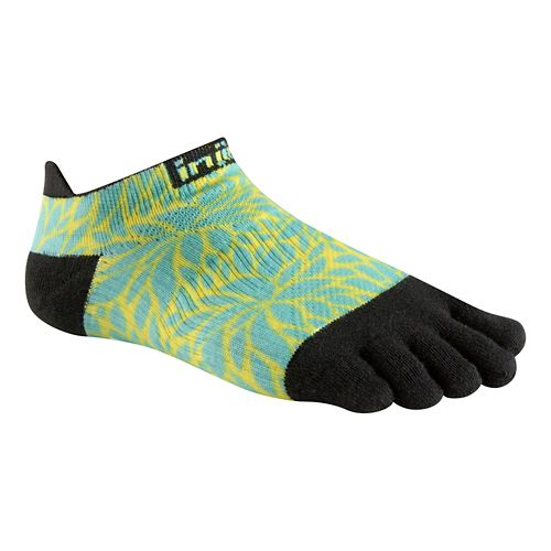 Womens Injinji RUN Lightweight No Show Spectrum Socks - Fern M/L