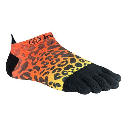 Womens Injinji RUN Lightweight No Show Spectrum Socks - Wild Orange M/L