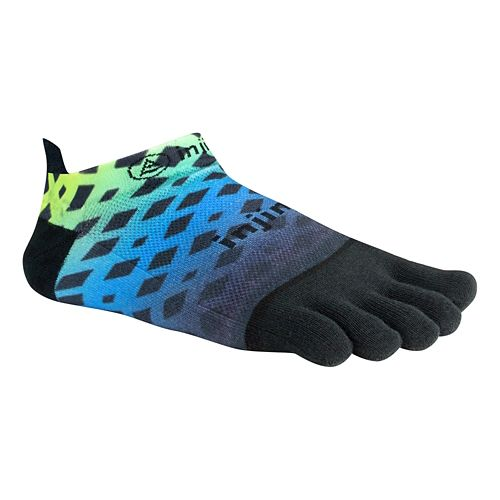 Injinji RUN Lightweight No Show Spectrum Socks - Abstract Lime Blue L