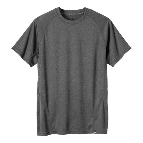Mens prAna Orion Crew Short Sleeve Technical Tops - Charcoal L