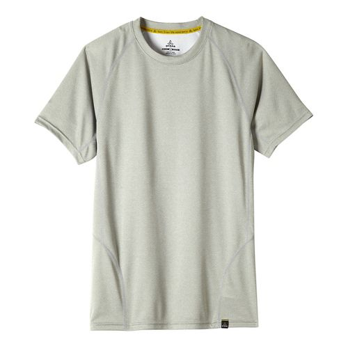Mens prAna Orion Crew Short Sleeve Technical Tops - Silver M