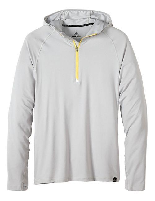 Mens prAna Breaker Hooded 1/4 Zip Hoodie & Sweatshirts Technical Tops - Silver XL