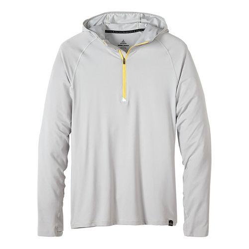 Mens prAna Breaker Hooded 1/4 Zip Hoodie & Sweatshirts Technical Tops - Silver L