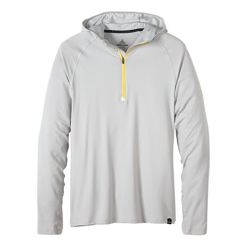 Mens prAna Breaker Hooded 1/4 Zip Hoodie & Sweatshirts Technical Tops - Silver XXL