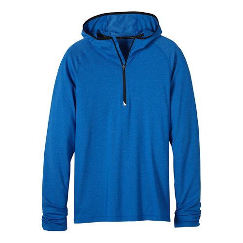 Mens prAna Breaker Hooded 1/4 Zip Hoodie & Sweatshirts Technical Tops - Classic Blue S ...