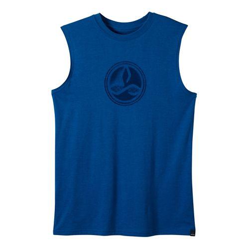 Mens prAna Badge Short Sleeve Technical Tops - Classic Blue XL