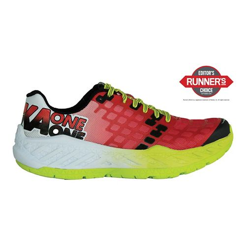 Mens Hoka One One Clayton Running Shoe - Red/Acid 11