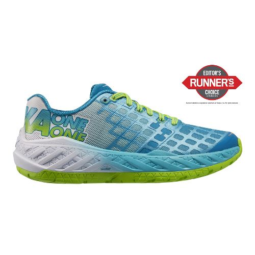 Womens Hoka One One Clayton Running Shoe - Green/Blue 5
