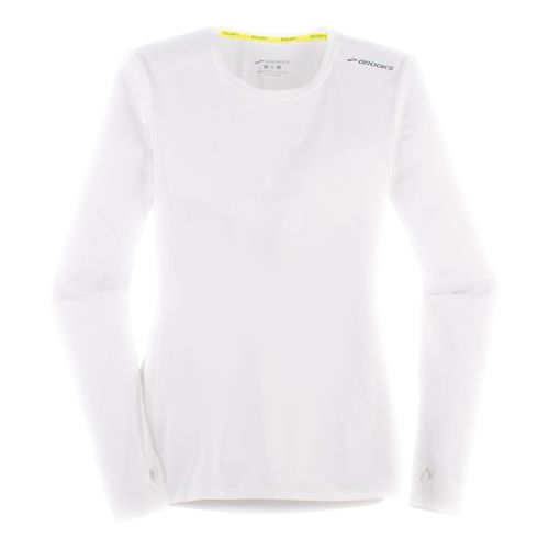 Womens Brooks Steady Long Sleeve Technical Tops - White L