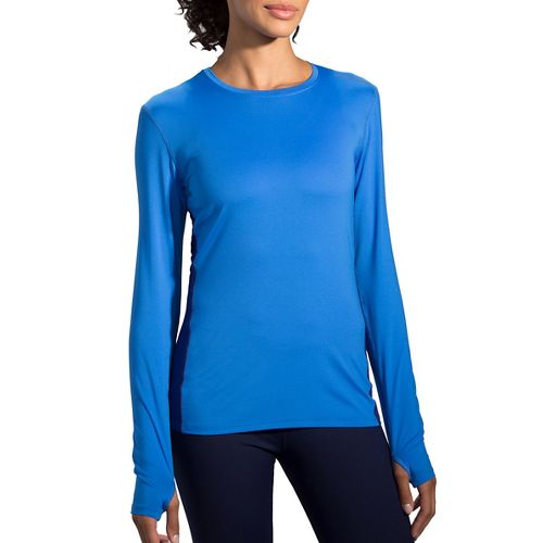 Womens Brooks Steady Long Sleeve Technical Tops - Wave/Marine L