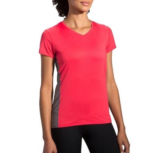 Womens Brooks Steady Short Sleeve Technical Tops - Poppy/Asphalt S