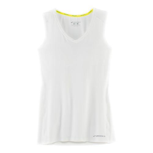 Womens Brooks Steady Sleeveless & Tank Technical Tops - White XL