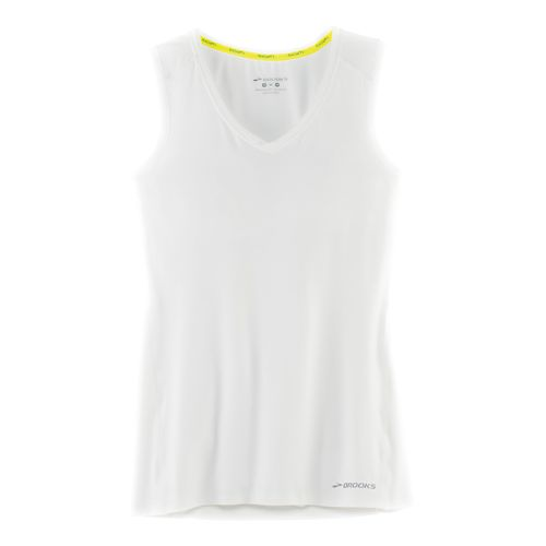 Womens Brooks Steady Sleeveless & Tank Technical Tops - White XS