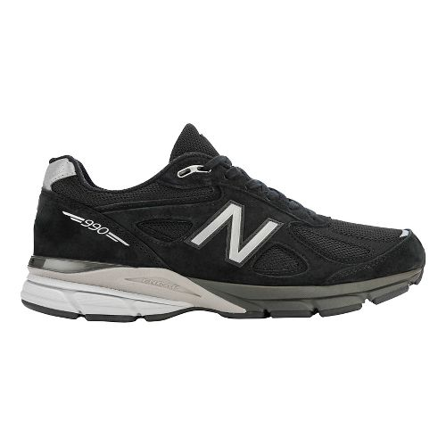 Mens New Balance 990v4 Running Shoe - Black/Silver 12