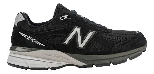 Womens New Balance 990v4 Running Shoe - Black/Silver 10.5