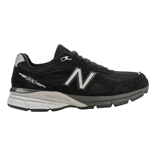 Womens New Balance 990v4 Running Shoe - Black/Silver 11.5