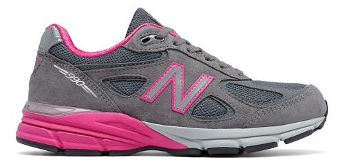 Womens New Balance 990v4 Running Shoe - Grey/Pink 6.5