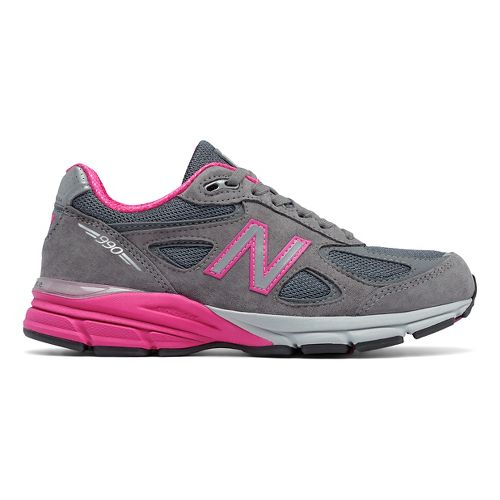 Womens New Balance 990v4 Running Shoe - Grey/Pink 10.5