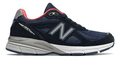 Womens New Balance 990v4 Running Shoe - Navy/Pink 6.5