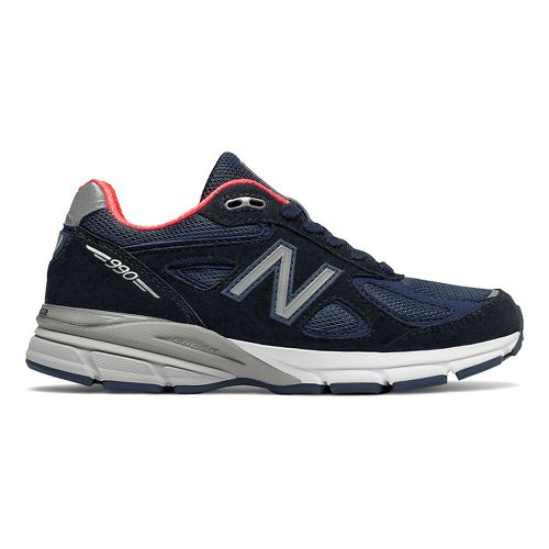 Womens New Balance 990v4 Running Shoe - Navy/Pink 10.5