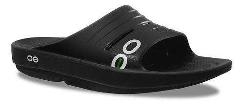 Womens OOFOS OOlala Slide Sandals Shoe - Black/Black 10