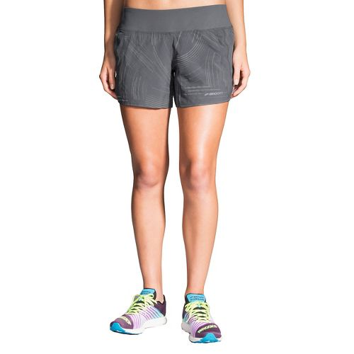 Womens Brooks Chaser 5in Lined Shorts - Asphalt Reflective S